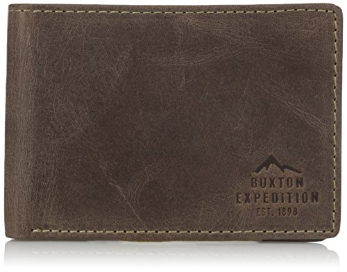 (Buxton Men's Expedition Ii RFID Blocking Leather Front Pocket Slimfold Wallet, Walnut, One)