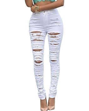 MISSMAO Pantalones Jeans Pantalones Vaqueros Pantalones Rasgados Flacos Cintura Alta para Mujer