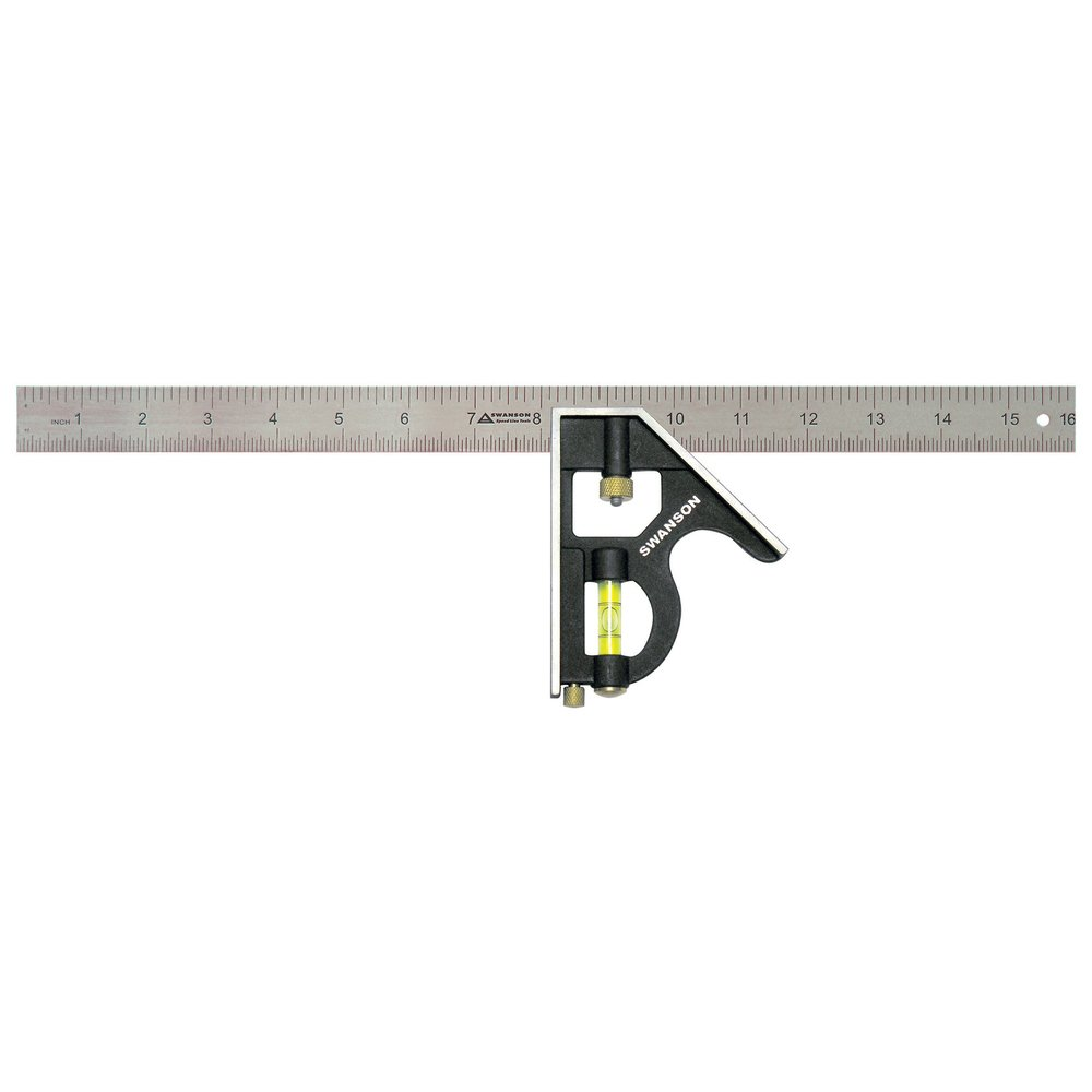 Swanson Tool TC134 16-Inch Combo Square (Cast Zinc Body, Stainless Steel Blade and Brass Bolt)