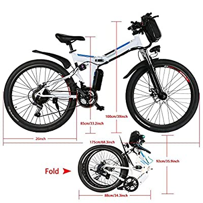 Electric Mountain Bike, Folding Hybrid Bicycles with E-bikes Mode & Pedal Assisted Mode, Large Capacity Lithium-Ion Battery, 26-Inch Wheel (US STOCK)