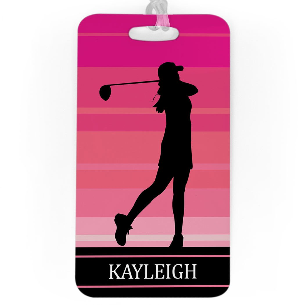 Golf Luggage & Bag Tag | Personalized Female Golfer | Standard Lines on Back | LARGE | PINK