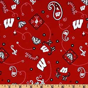 collegiate cotton broadcloth university of wisconsin bandana red fabric by the yard. Black Bedroom Furniture Sets. Home Design Ideas
