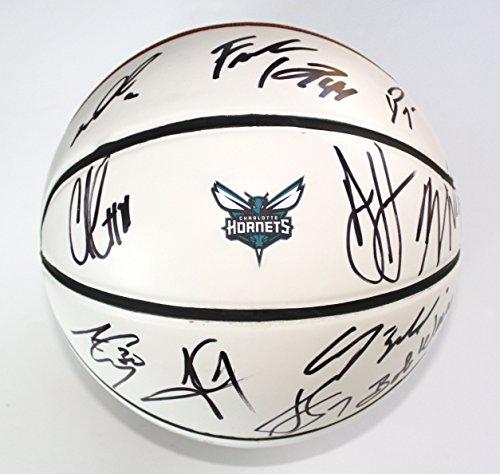 Charlotte Hornets 2015-16 Team Autographed Signed White Panel Basketball Kemba Batum Jefferson (Team Signed Basketball)