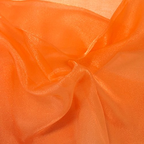 Sparkle Crystal Sheer Organza Fabric Shiny for Fashion, Crafts, Decorations 60 (Orange, 1 (Orange Organza Fabric)