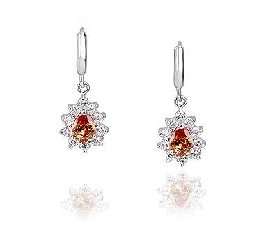 c144332c9b8e Signore-Signori® Yellow Swarovski Zircon Crystal Drop Dangle Earrings White Gold  Plated Jewellery  Amazon.co.uk  Jewellery