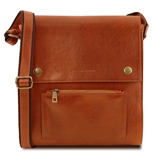 Tuscany Leather Oliver Leather crossbody bag for men with front pocket Honey by Tuscany Leather