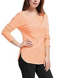Allegra K Women's Stripes Scoop Neck Dropped Shoulder Long Sleeves Top