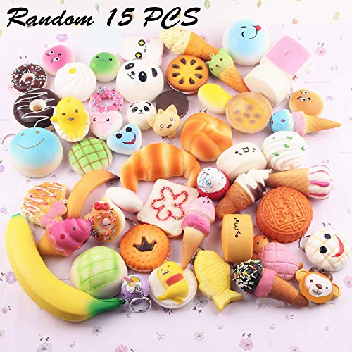 L.DONG Random 15 PCS Squishies Slow Rising Cream Scented Kawaii Simulation Lovely Toy Mini Soft Key Chain Bag Decoration