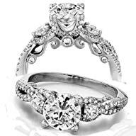 1.50 Carat (ctw) 14K White Gold Round Diamond Ladies Bridal Vintage 3 Stone Engagement Ring 1 1/2…