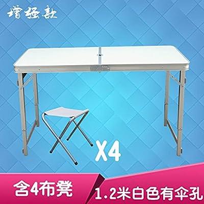 Xing Lin Table Pliable Table De Pique-Nique Barbecue Piscine Ultra Léger En Aluminium Table Pliante Tabouret Chaise Portable Ensemble, L'Amélioration De 1,2 M Blanc Trou Parapluie