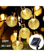 Guirnalda de Luces Solar - AUELEK Cadena de Luces de 30 LED 6 Metros de Bola de Cristal, Luces Decorativas de Exterior para Jardines, Patio, Césped, Navidad, Fiesta, Festival, Decoración de Boda