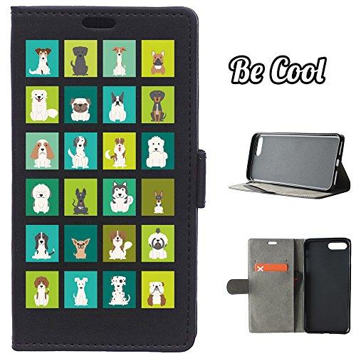 BeCool® - Housse étui [portefeuille] iPhone 7 Plus, [Fonction support], protège et s'adapte a la perfection a ton Smartphone. Elegan Wallet. Races de chiens