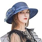 Nercap Women's Fascinator Tea Party Wedding Church Dress Kentucky Derby Hats Wide Brim Summer Cap (Dark Blue)