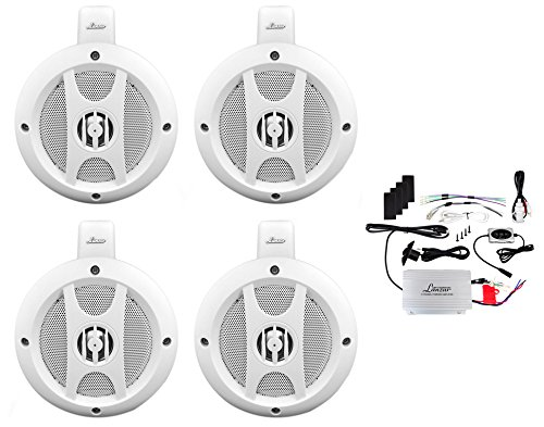 Upgraded 4'' Lanzar Two-Way Boat Speakers, Marine Amplifier 4 Channel, Mountable, Waterproof, Bluetooth, Wireless Streaming Music, Great For UTV/ATV/Snowmobile/Wakeboards, Set Of 4 (OPTIUTVA10B) by Lanzar