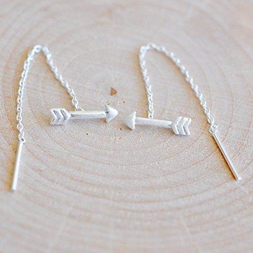 Arrow Ear Threader Earrings in Sterling Silver - Jamber Jewels - Sterling Silver Threader Ring
