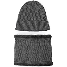 Jeff & Aimy Mens Wool Knit Hat & Scarf Sets Fleece Lined Unisex