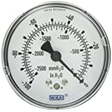 WIKA 9747465 Capsule Low Pressure Gauge, Dry-Filled, Copper Alloy Wetted Parts, 2-1/2