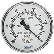 "WIKA 9747465 Capsule Low Pressure Gauge, Dry-Filled, Copper Alloy Wetted Parts, 2-1/2"" Dial, 0-100""WC Vacuum (mmWC) Range, +/-1.5% Accuracy, 1/4"" Male NPT Connection, Center Back Mount"