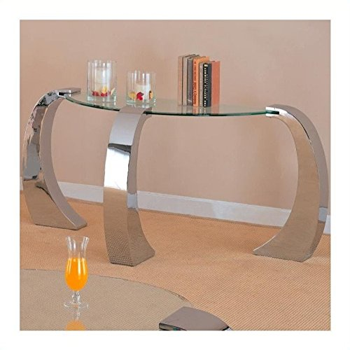 720059 Custer Contemporary Metal Sofa Table with Round Glass Top by Coaster