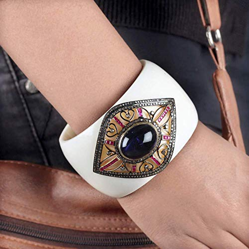 (Evil Eye Style Bangle 2.5 ct. Natural Diamond Ruby Iolite Bakelite Bracelet Pave Setting 925 Sterling Silver Handmade Jewelry)