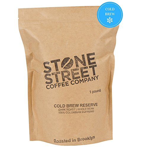 Stone Street Coffee Cold Brew Reserve Colombian Supremo Whole Bean Coffee - 1 lb. Bag - Medium Dark Roast