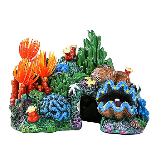 SLSON Aquarium Coral Rock Decoration Vivid Mountain Cave Environments Ornaments Fish Tank Resin Deorations
