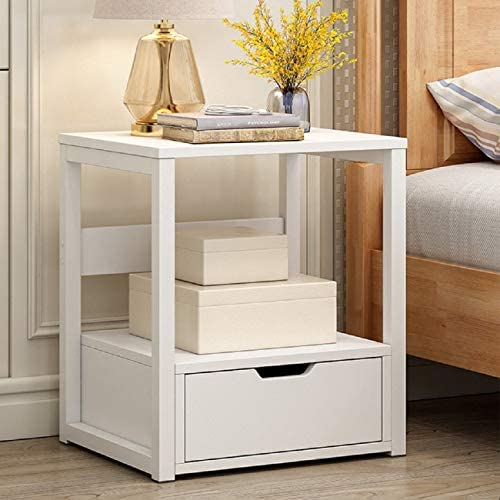 Adreamess White Color 2-Tier Storage Locker Bedroom Night Table Sofa Coffee Table Modern End Table Bedside White