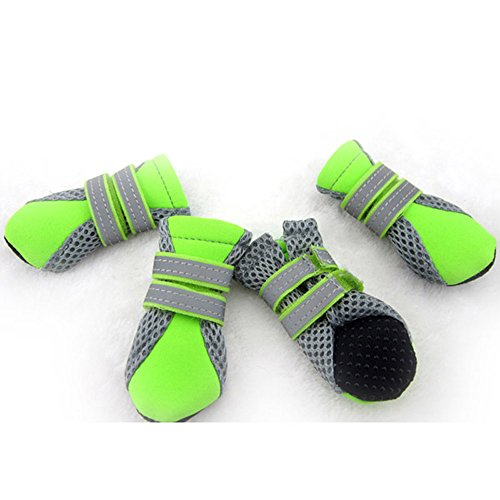 Ecloud Shop® Mascota del perrito del animal doméstico Botas zapatos de malla transpirable suela de goma antideslizante Soft (verde-XL)