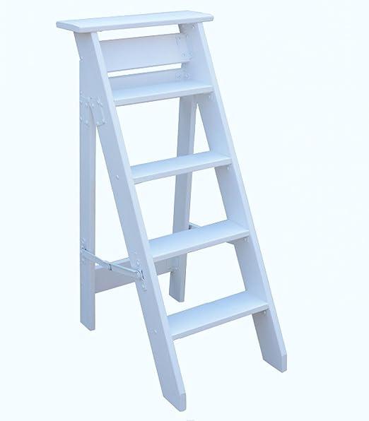 CAIJUN Escalera de Cinco peldaños De múltiples Fines Madera de Pino Un Lado Plegable Decoración Casa móvil Escaleras del ático, 4 Colores, Alto 100cm (Color : A, Tamaño : 100cm): Amazon.es: Hogar