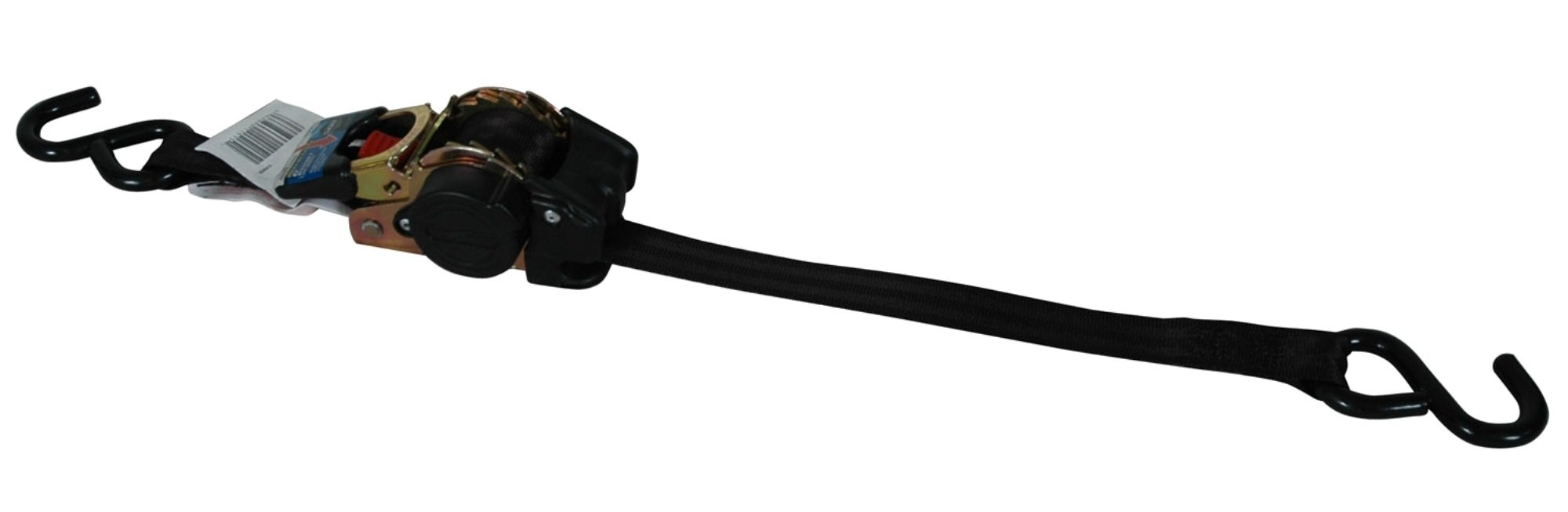 Highland (1151500) Black 6' Retractable Ratchet Tie Down with Hooks