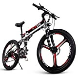 ENGWE E-Bike Folding Full Suspension Electric Mountain Bike with 26 Inch Magnesium Alloy Integrated Wheels 48V 8AH Removable Lithium-Ion Battery and 21 Shimano Speeds Gear