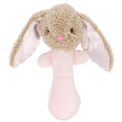 Hemore - Peluche de peluche para bebé, juguetes de bebé, mancuerna de dibujos animados para niños y niñas, campana de mano, juguete de peluche ...