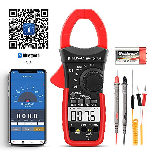 Digital Clamp Meter Voltage Tester,HOLDPEAK HP-570C-APP Multimeter with Amp Ohm Tester,4000 Counts Multimeter with AC/DC Voltage AC/DC Current,Resistance,Diode Test,Temperature,Capacitance Tester (Clamp On Amp Meter)