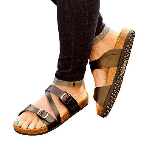 Syktkmx Womens Flat Cork Platform Slides Slip on Buckle Strap Sandals 3-black 12 B(M) US by Syktkmx