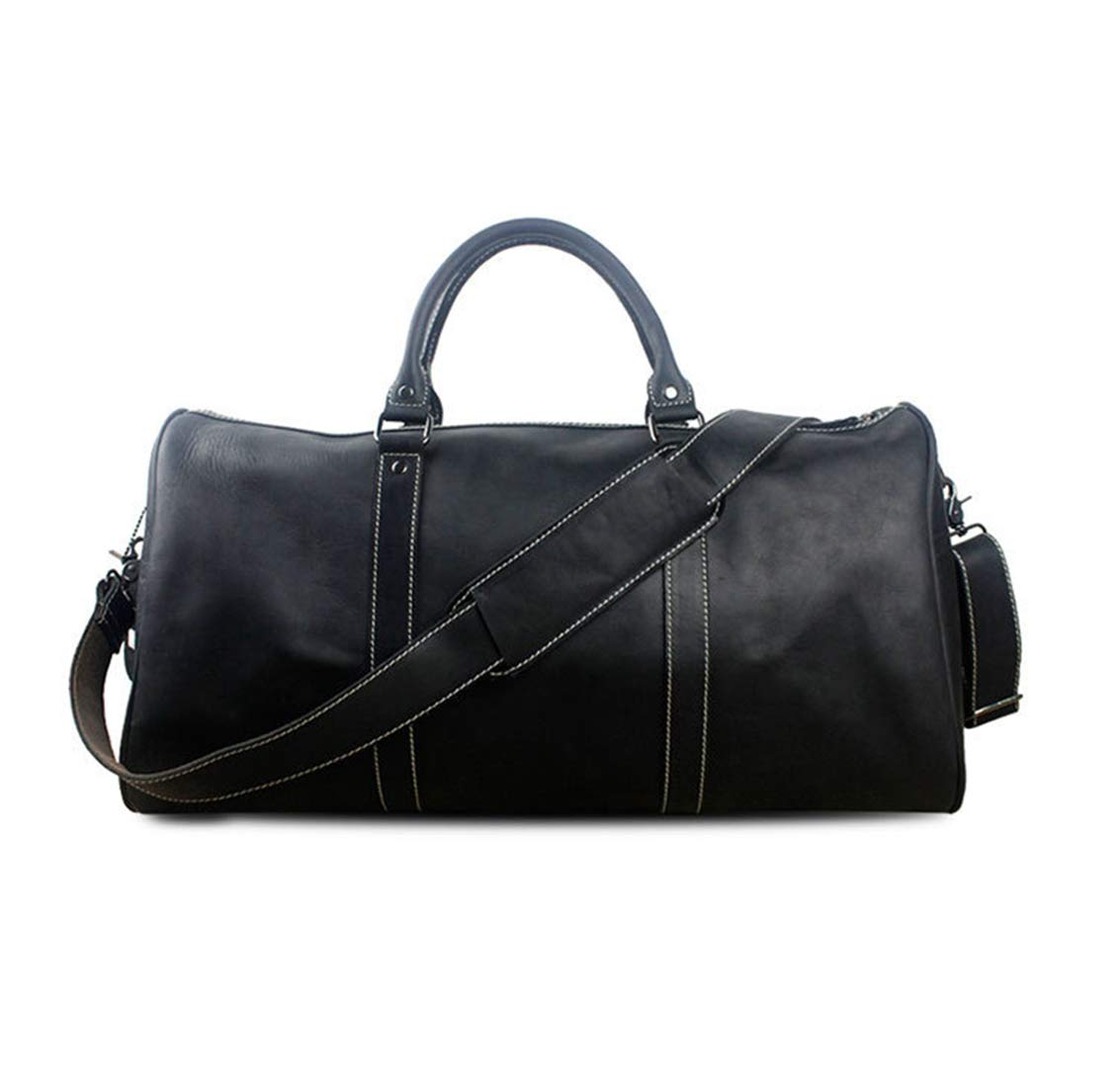 CAFUTY 大容量トラベルバッグチェック柄ファッショントラベルショルダーバッグレザーマンバッグ短距離トラベルメンズハンドバッグ荷物袋 (Color : ブラック) B07MXCZ6J2 ブラック