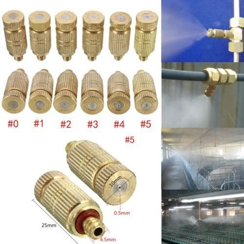 10Pcs Brass Misting Nozzles for Cooling System Humidification Sprayer 0.1-0.5mm