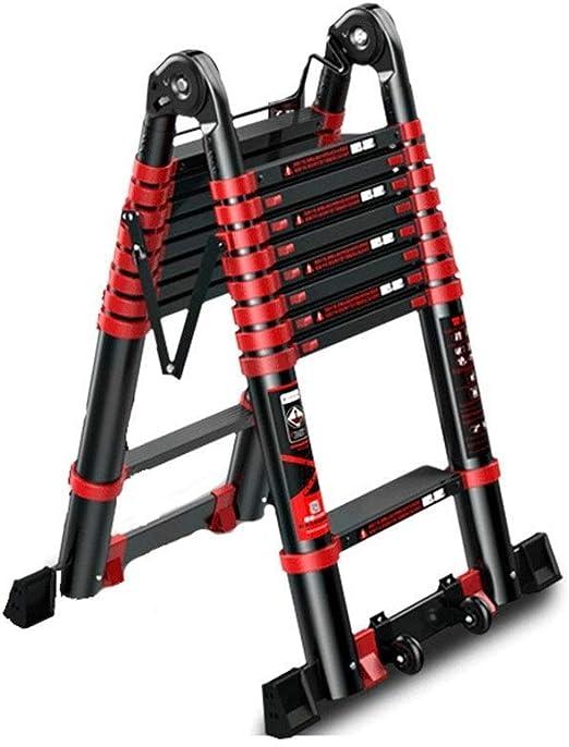 ALYR A-Frame Escalera Telescópica, Extensible Escalera 150kg / 330lb Capacidad de Carga Plegable Escalera con estabilizador para Uso doméstico Techo RV Actividades al Aire Libre,2.1 * 2.1m: Amazon.es: Hogar