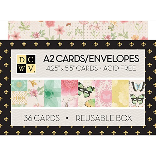American Crafts Mariposa DCWV Boxed A2 Cards W/Envelopes 36/Pkg 4.375