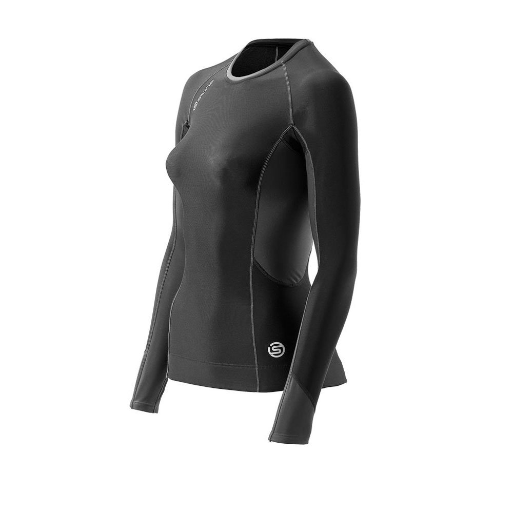Skinss400 Women's Thermal Long Sleeve Compression Top, Small, Black/Graphite/White