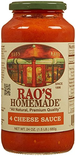 Rao's Homemade Four Cheese Sauce, Classic, Creamy Italian Tomato Sauce with Four Italian Cheeses, Great on Pasta, Made With Italian Tomatoes, No Sugar Added, No Onions, No Garlic, 24 Ounce Jar ()