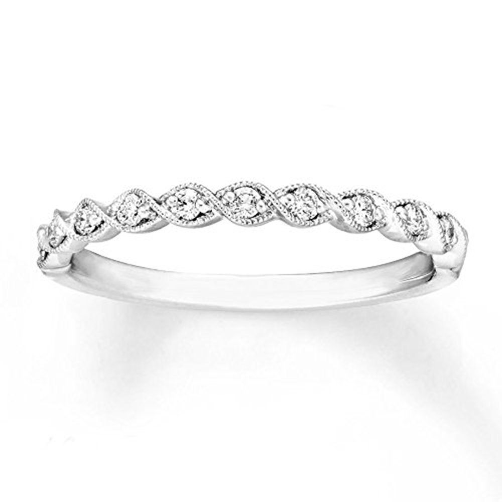 1/6 Ct Natural Diamond Half Eternity Engagement Ring In Solid 14K White Gold