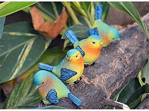 JINGB Garden 4 Pcs Miniature Resin Birds Micro Landscape Ornament Garden Home Decor (Blue)