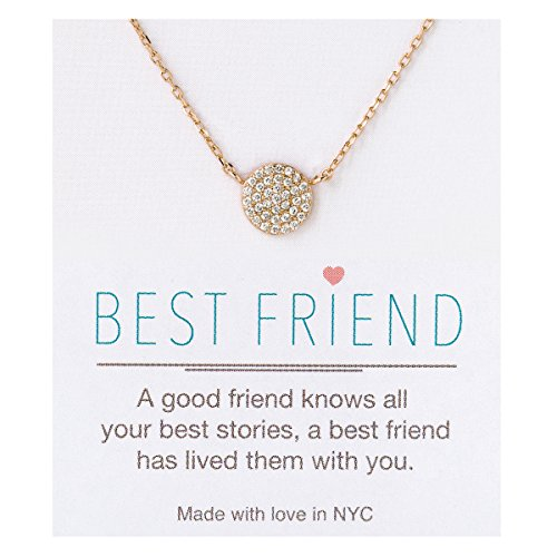 A+O Friendship Necklace - 8MM Pave Disc Necklace in Gold