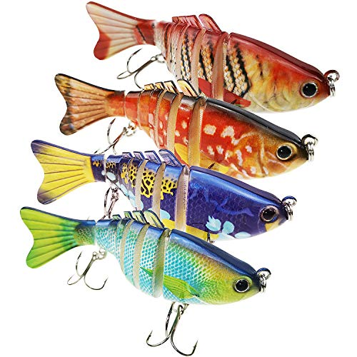 ZWMING Top Water Fishing Lures Bass Hard Baits 3D Eyes Life-Like Swimbait Fishing Poppers with Tackle Box for Freshwater Saltwater Fishing