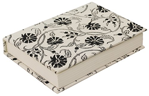 Fabric Journal (SouvNear Handmade Fabric Writing Journal/Travel Diary/Notebook Silk Wrapped Hardcover - White & Black - Block-Printed Art - 192 Unlined Acid-Free Paper - Retro Sketchbook/Scrapbook)