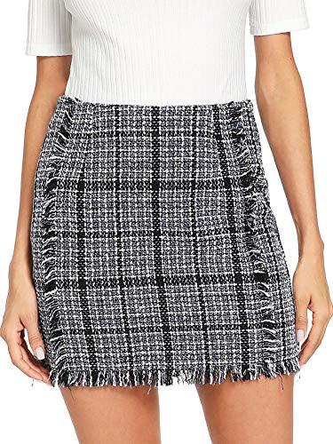 Floerns Women's Striped Zipper Raw Hem Smock Skirt