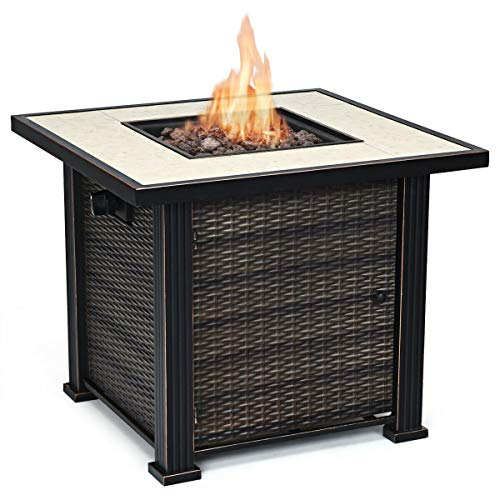 Giantex 30 Square Propane Gas Fire Pit Table 50,000 BTUs Heater Outdoor Table w/Lava Rock & Protective Cover (Gold & Brown)