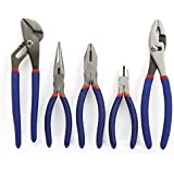 "WORKPRO W001307A 5-piece Pliers Set (10"" Slip Joint, 8"" Linesman, 8"" Long Nose, 6"" Diagonal, 10"" Groove Joint)"