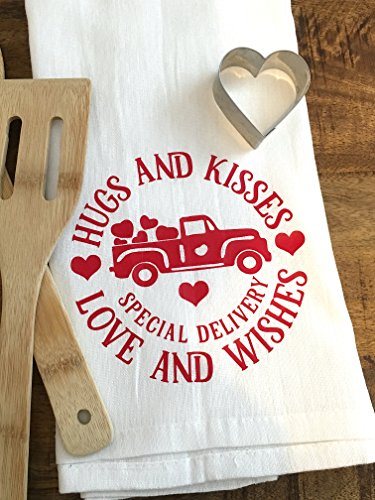 Valentines Day Kitchen Towel - Heart Truck - Hugs and Kisses - Anniversary Love Flour Sack