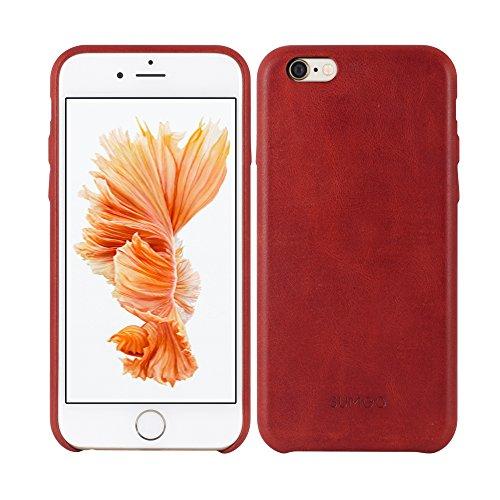 SUMGO® Apple iPhone 6 Plus, 6s Plus Hülle echt Leder Schutzhülle Hard Cover Back Case Tasche - in Rot